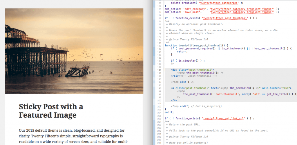 Finding the featured image size your theme is using in Twenty Fifteen. Here, we traced it from single.php to template-tags.php, and we can see it will use the full-size image that's uploaded.