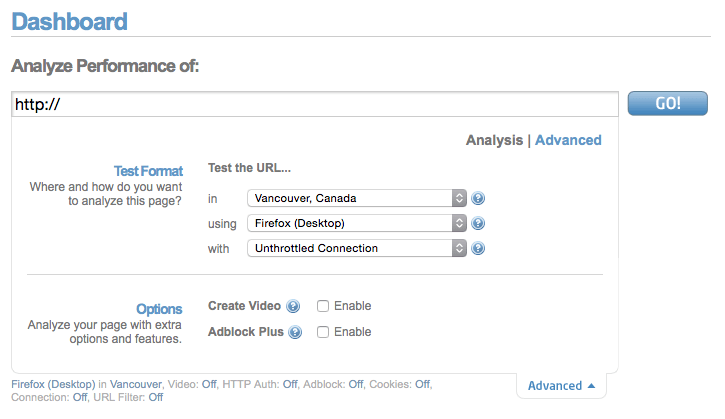 Website Speed test options available to logged in users of Gtmetrix