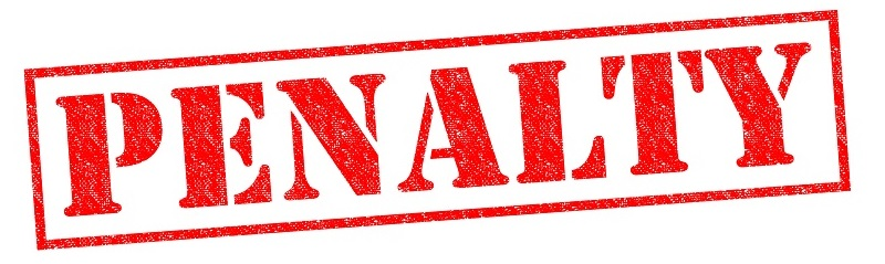 PENALTY red Rubber Stamp over a white background.