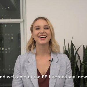 FE International Newsletter Blond Female News Reporter